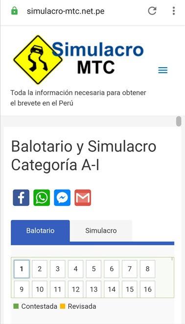 Simulacro Mtc Balotario Y Simulador Del Examen De Reglas De Transito